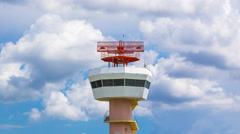 Time Lapse Airport Radar Communications Tower (pan up) Stock Footage