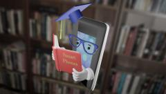 Smartphone Character LOOP Graduation Hat Reading Book In Library Stock Footage