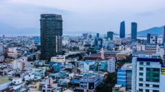 The bird's view of the downtown in Da Nang, Vietnam. Panning Stock Footage