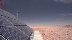 Solar panel in the desert Stock Footage