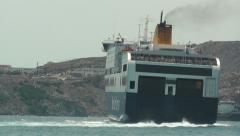 Blue Star ferry boat turning as it leaves the port Stock Footage