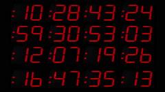 Digital numbers finance business data computer clock Stock Footage