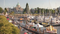 Victoria BC Legislature Sunset - stock footage