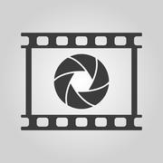 The camera icon. Photo and diaphragm, photographer, film symbol. Flat Stock Illustration