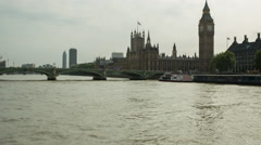 Stock Video Footage of london city river cruise boat thames big ben urban landmarks