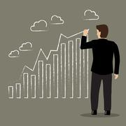 Businessman drawing positive trend graph Stock Illustration