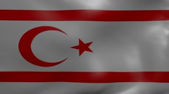 Northern cyprus strong wind flag Stock Footage