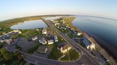 Aerial view of Bonaventure town in Gaspe Peninsula, Chaleurs Bay, Canada Stock Footage