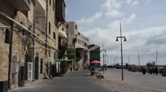 Ancient old Jaffa port, pan right Stock Footage
