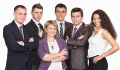 Group of smiling business people. Isolated over white background Stock Photos