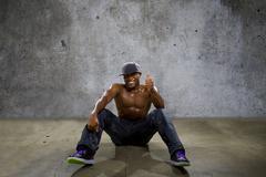 Shirtless Sweaty Muscle Man - stock photo