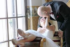 Bride and groom in their wedding day feeling great Stock Photos