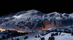 Clear night in the ski resort Stock Footage