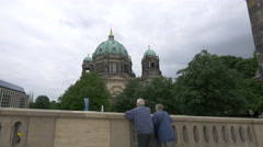 Berliner Dom view from a bridge near Bodestrasse in Berlin Stock Footage