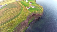 Aerial view over Land's end at Hope Cape (Cap D'Espoir) in Gaspe Peninsula - stock footage