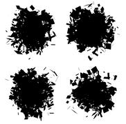 Exploded shape black silhouette collection over white Stock Illustration