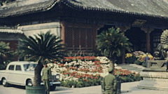 China 1976: soldiers guarding a garden Stock Footage