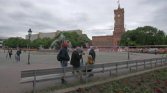View of Neptunbrunnen and the City Hall of Berlin Stock Footage