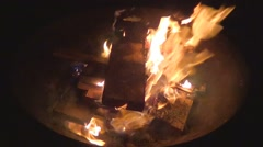 Bonfire in a Campfire Pit Stock Footage