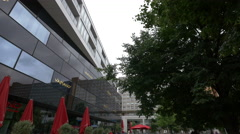 Vapiano building in Alexanderplatz, Berlin Stock Footage