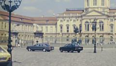 Berlin 1982: cars parked in front of Charlottenburg palace Stock Footage