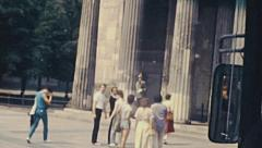 East Berlin 1982: people walking in the street - stock footage