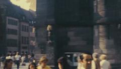 Nuremberg 1982: people walking in the central square of the city Stock Footage