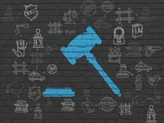 Law concept: Gavel on wall background - stock illustration