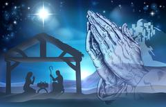 Praying Hands Nativity Scene - stock illustration