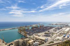 industrial port with containers Aerial view - stock photo