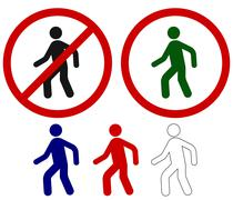 Prohibited signs walking man Stock Illustration