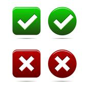 yes no buttons green an red - stock illustration