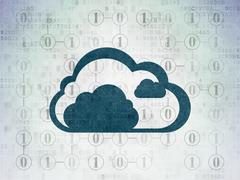 Cloud computing concept: Cloud on Digital Paper background Piirros