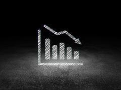 News concept: Decline Graph in grunge dark room - stock illustration