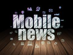 News concept: Mobile News in grunge dark room - stock illustration