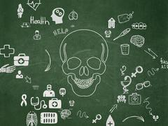 Health concept: Scull on School Board background - stock illustration