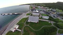 Aerial view of Perce dock in Gaspe Peninsula Stock Footage