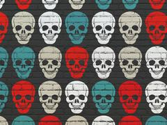 Healthcare concept: Scull icons on wall background Stock Illustration
