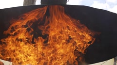 Fire rises through the chimney super slow motion Stock Footage
