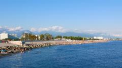 City beach. Sochi, Russia. 4K Stock Footage