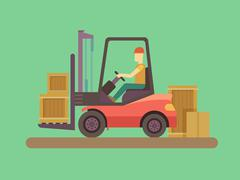 Stock Illustration of Loading and unloading machine