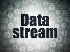 Data concept: Data Stream on Digital Paper background - stock illustration