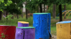 Colored stumps Stock Footage