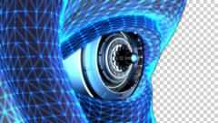 3D CAMERA INSIDE EYE CYBORG ANIMATION. TRANSPARENT ALPHA CHANNEL - stock footage