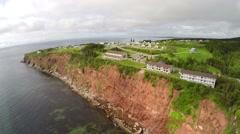 Aerial view of coastline in Perce town, Gaspe Peninsula Stock Footage