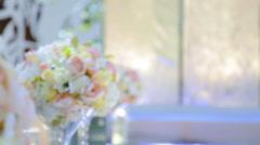Bridal Bouquet bouquet on the table. Elegant wedding the bride's bouquet. Stock Footage