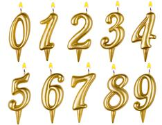 Birthday candles number set isolated on white - stock photo