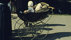 Holland 1970s: baby in a carriage - stock footage