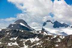 Higher Gjaidstein, Higher Dachstein and Lower Dachtein, Dachstein Mountains - stock photo