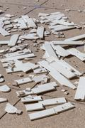 pile of broken damaged wood plank - stock photo